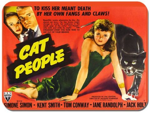 Cat People Vintage Film Poster Mouse Mat. Classic 1940's Horror Movie Mouse Pad